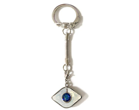 Iridescent  Crystal Evil Eye, Swarovski Crystal Key chain / Zipper Charm