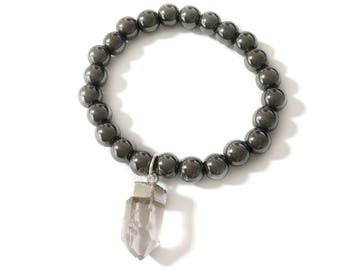 Hematite with Quartz Crystal Point Stretch Bracelet