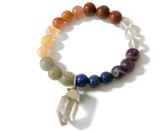 Rainbow Chakra Quartz Crystal Point Charm Stretch Bracelet