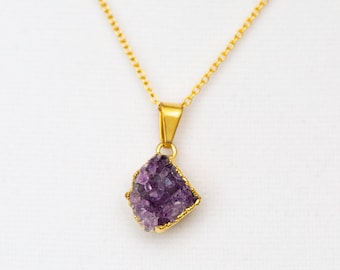 Amethyst Cluster Gold Charm Necklace - Petite Minimalist Jewelry