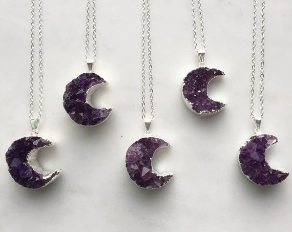 Amethyst Luna Crescent Moon Necklace in Silver. Choose your pendant.