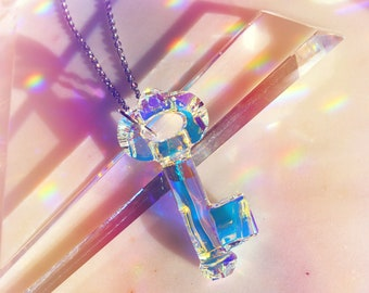 "Key Pendant Necklace | 50mm Genuine Swarovski Crystal Pendant Aurora Borealis Iridescent Long for Layering - 24"" Stainless Steel Cable Chain"