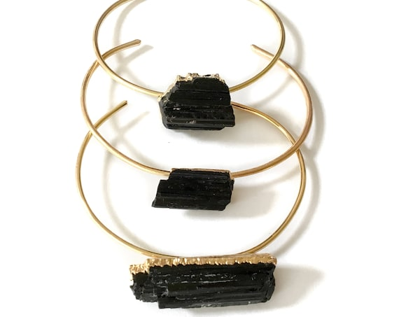 Black Tourmaline Cuff Bracelet - Gold