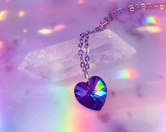 "Swarovski Crystal Heart Necklace | Heliotrope Xilion | 18mm Pendant | 18"" Stainless Steel Cable Chain 