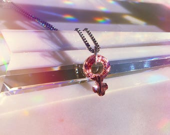 "Swarovski Crystal Female Symbol Pink Faceted Crystal Pendant Necklace, petite size 18mm, 18"" box chain-Stainless Steel 