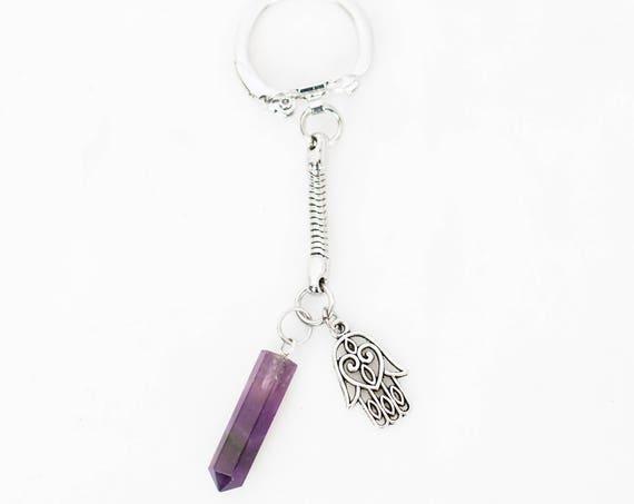 Amethyst Crystal Point Hamsa Charm Keychain Zipper Charm