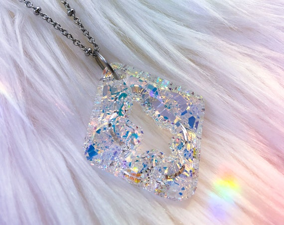 Aurora Borealis Iridescent Crystal Pendant Necklace * Faceted Rhombus shape!