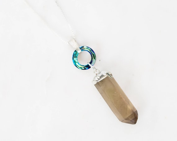 Smoky Quartz + Swarovski | Crystal Pendant Necklace | Crystal Jewelry