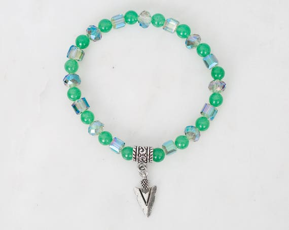 Aventurine Stone Beads Stretch Bracelet with Arrow Charm | Southwestern Style, Bohemian Jewelry