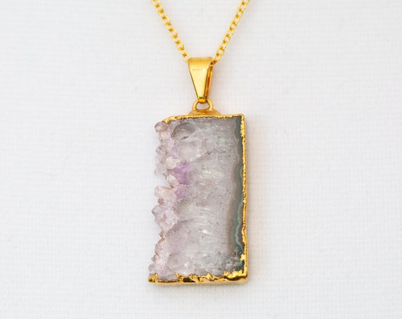 Amethyst Slice Pendant Necklace Gold