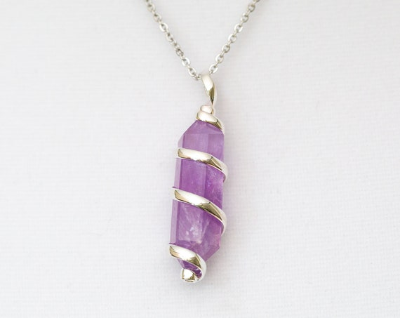 Amethyst Pendant Necklace - Spiral Silver