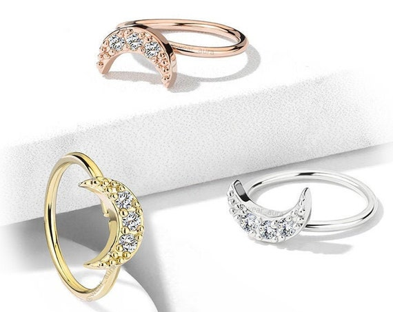 Crescent Moon Nose Hoop Rings Cubic Zirconia Crystal Paved 20GA Gold,Platinum, Rose Gold, Bendable Hoop Rings
