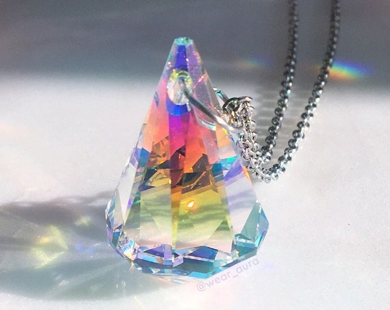 Prism Diamond Drop Swarvoski Pendant Necklace - XL size