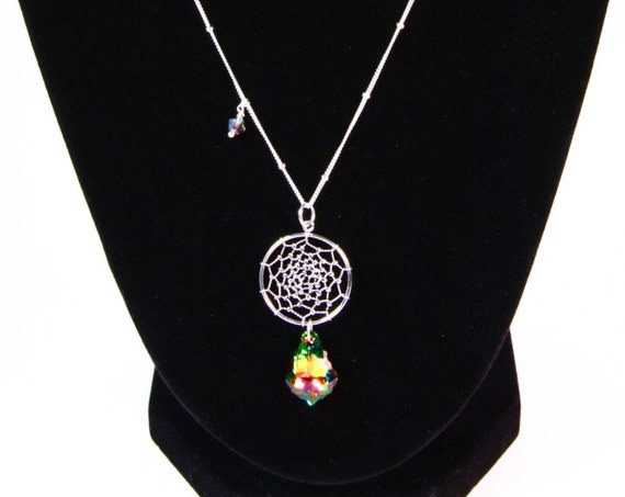 Dream Catcher Pendant Necklace with Rainbow Crystals