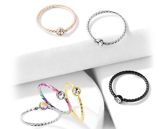 Petite Crystal Set Twisted Rope Bendable Hoop Nose Ring 20GA AB, Rainbow, Rose Gold, Gold, Black, Clear, Small Feminine Body Jewelry