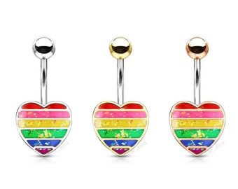 Rainbow Resin Glitter Filled Heart Belly Button Navel Rings, Belly Button Body Jewelry - 1 piece