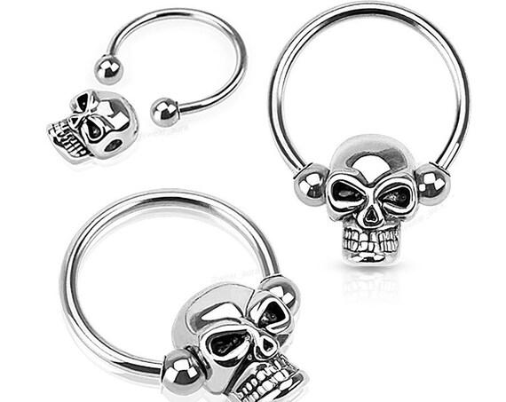 Skull Captive Bead Ring / Horseshoe/ Circular Barbells for Septum, Earrings, Eyebrows | Halloween