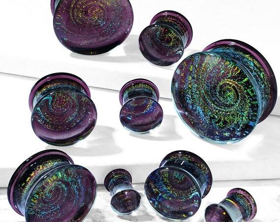 Galaxy Swirl Purple Double Flare Glass Plugs (pair)