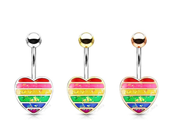 Rainbow Resin Glitter Filled Heart , Gold, Rose Gold, 316L Surgical Steel Belly Button Navel Rings, Belly Button Body Jewelry