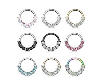 Crystal 7 Gem Front Facing Bendable Hoop  Rings for Ear Cartilage, Daith, Nose Septum, and more!| Bendable 316L Surgical Steel |
