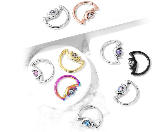 Moonchild Crescent Moon with Crystal Accent 18GA and 16GA 316L Surgical Steel Ear Cartilage, Daith Hoop Rings Witchy Jewelry Moon Phases