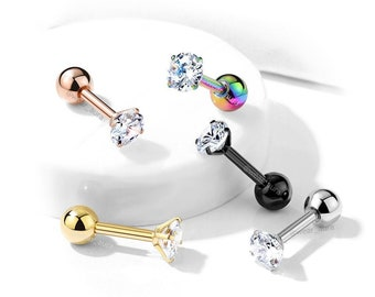 Crystal CZ Top Cartilage, Tragus, Barbell Stud - 316L Surgical Steel, 5 color choices - 1 Piece