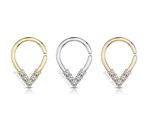 Crystal V Pear Shaped Bendable Ring for Septum Tragus Cartilage Piercings Platinum + 14k Gold Rose Gold Plated Over Brass for easy bending