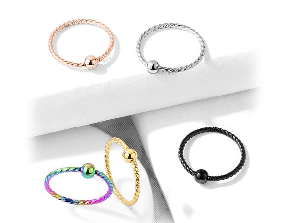 Petite Twisted Rope Bendable with Fixed Ball Hoop Nose Ring 20GA  Rainbow, Rose Gold, Gold, Black, Clear,Small Feminine Body Jewelry
