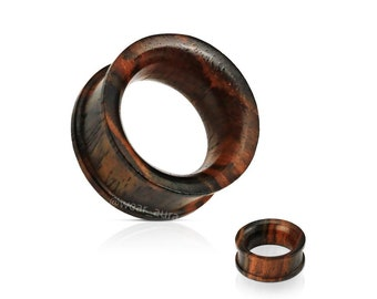 A Pair of Sono Wood Concave Double Flat Flared Tunnel Plugs