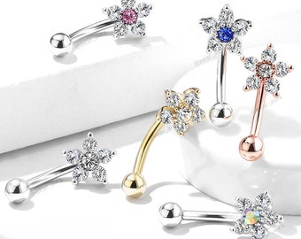 Dazzling Flower Crystal Curved Barbell - Eyebrow Ring, Cubic Zirconia, | Plated brass face (flower) steel bar & ball