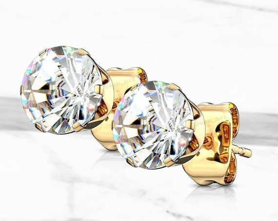 CZ Round Crystal Gold (Pair) Stud Earrings Clear Cubic Zirconia Sparkling Dazzling Bling Jewelry