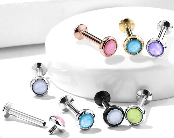 "Illuminating Stone Flat Set Top Internally Threaded 316L Surgical Steel Labret, Monroe, Ear Cartilage, Chin, Lip and More 1/4""(6mm)"