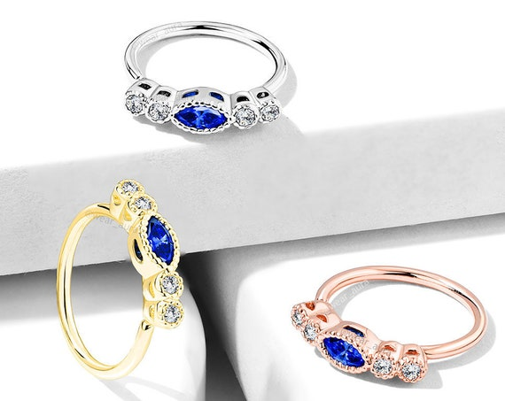 "Clear CZ with ""Saphire"" Color Marquise CZ Center Top Bendable Nose Hoop Rings 20GA Feminine Body Jewelry Petite Crystal Hoop"