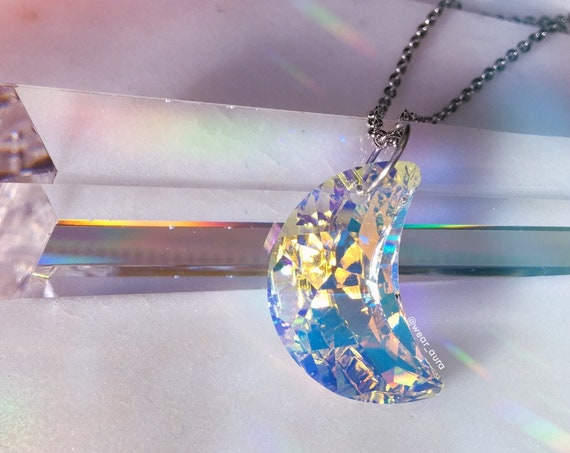 Iridescent Aura Crescent Moon Swarovski Crystal Pendant Necklace- XL size