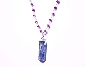 Blue Kyanite Charm Necklace with Amethyst and Sterling Silver Chain