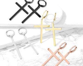 A Pair of Big Cross Earrings Pair Hoops with Dangle Cross Steel Plated Gold, Rose Gold, Black | Unisex! Great Style for Men or Women!