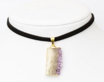 Amethyst Slice Pendant Choker Necklace - faux suede - black choker
