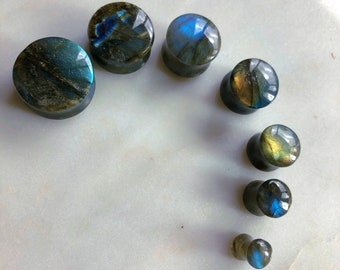 A Pair Of High Grade Labradorite Stone Double Flared Saddle Plug -AAA Grade Labradorite