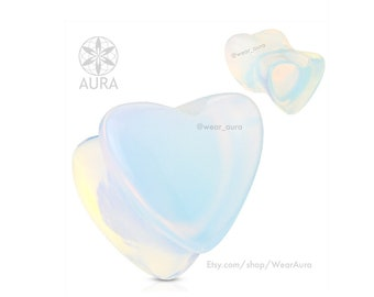 A Pair of Iridescent Opalite Plugs Heart Shaped Natural Stone Saddle