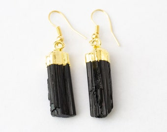 Black Tourmaline Earrings Choose Silver or Gold