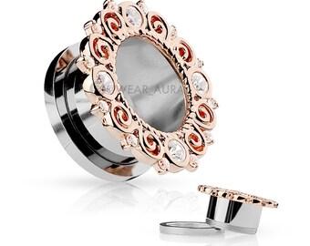 A Pair Of Rose Gold IP CZ Set Vintage Filigree Rim Screw Fit Flesh Tunnels Gauges | Bridal, Fancy gauges, wedding