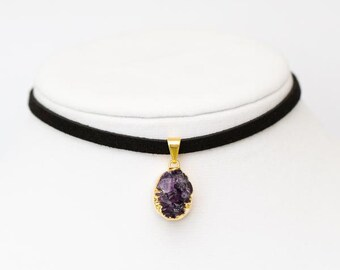 Amethyst Druzy Choker Necklace - Petite Jewelry