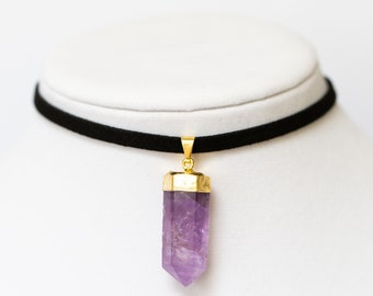Amethyst Pendant Choker Necklace Gold - Faux Suede Choker - Crystal Jewelry