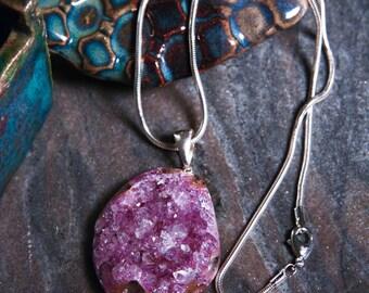 Amethyst Druzy Pendant, Crystal | Cabochon | Pendant | Amethyst Pendant | Crystal Jewelry