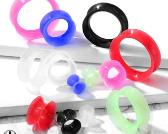 A pair of Silicone Tunnels Double Flared Saddle Ultra Soft Flexible Body Jewelry 00GA