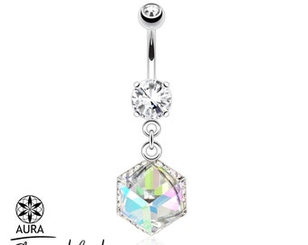 Aurora Borealis Cube Prism Dangle Navel Ring | Prism Encased by Paved Gems 14GA Sparkling Body Jewelry Summer Fashion Bling Gifts for Her
