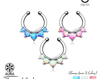 Opal Paved 5 Stone Round Septum Non-Piercing Body Jewelry 316L Surgical Steel For Her 16GA Tribal Summer Boho - Listing is for 1 piece