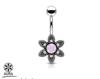 Pink Opalite Stone Set Gem Paved Flower Bohemian Belly Button Rings Body Jewelry Navel Piercing | Plated brass face steel bar & ball