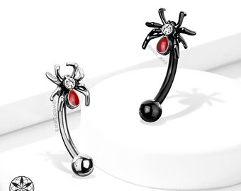 Spider Curved Barbell Eyebrow Ring | Steel or Black with Tiny Clear Crystal - Plated Brass parts