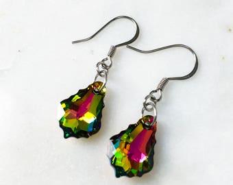 Rainbow Pride Baroque Swarovski Crystal Earrings - Vitrail Medium